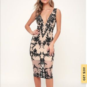 Lulus embroidered overlay midi dress